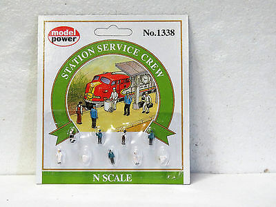 MODEL POWER #1338 N scale STATION SERVICE CREW 9 pieces New on card