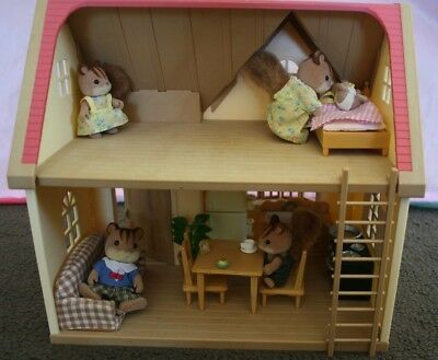 Sylvanian Families Rose Cottage+, Fridge set and Walnut Squirrell Family