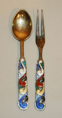 Oystein Balle Norway 925 Sterling Silver Enamel Fork & Spoon Set 17.1 Grams