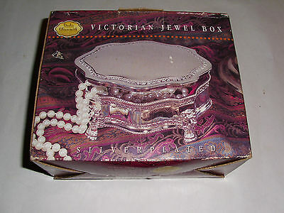Silverplated Studio Silversmith Victorian Jewelry Trinket Box Jewel Box