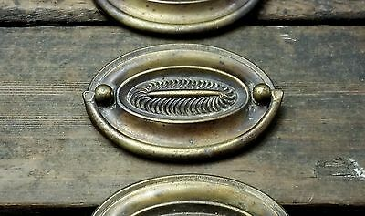 "ONE Vtg Old Antique Stamped Fancy BRASS Deco Oblong Pull Handle Drawer 2 7/8"" CC"