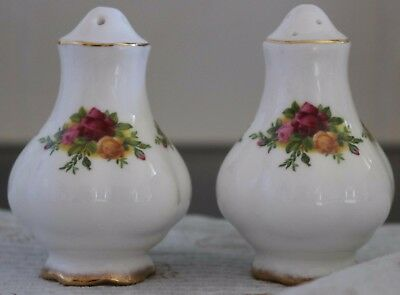 """Royal Albert - Salt & Pepper Pair -  """"Old Country Roses"""" - ***Made in England***"""