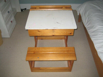 Retro / Vintage / Old Style School Desk with Hinged Lid and Seat