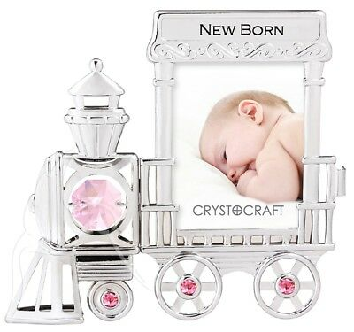 Crystocraft Photo Frame - Train Engine with Pink Swarovski Elements