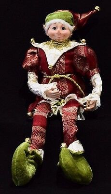 Christmas Elf Red Green Gold 46cm