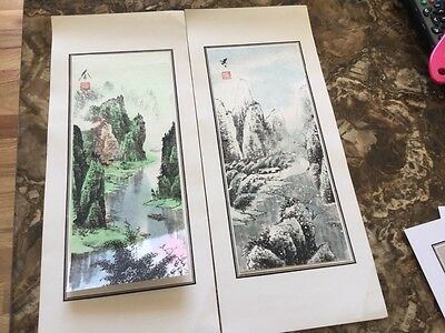 set of 2 small Chinese Asian Hand Painting mountain river scenery landscape