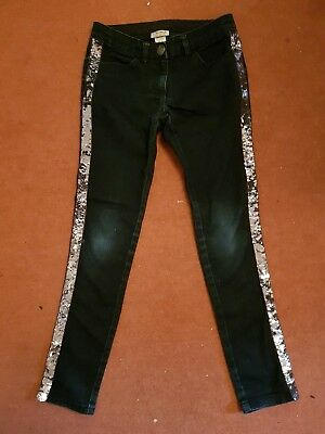 Girls Next Skinny Jeans, Navy Denim with Silver Sequin Side Seams. Age 10