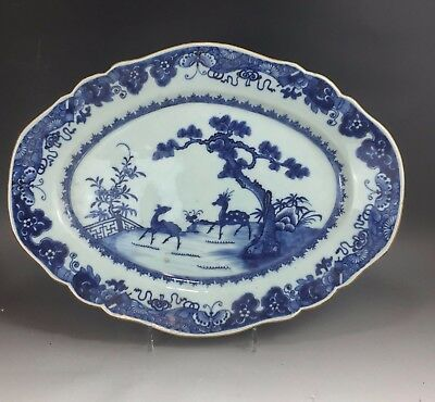 "A large/beautiful Chinese 18C blue&white ""double deers"" platter-Qianlong"