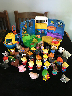 Fisher Price Little People And Animlas  Bulk Lot Of 40 Camping Plus Bus & Boat