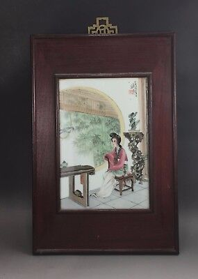 A beautiful Chinese early 20C famille rose framed plaque-Republic