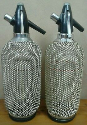 Vintage Retro Glass Soda Syphons With Metal Mesh Covers
