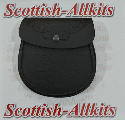 Men's Scottish Black Embossed Leather Sporrans, Kilt Sporran with Chain & Belt..