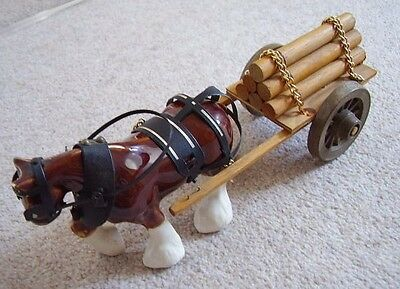 Vintage Melba Ware England porcelain horse with wooden cart Ornament