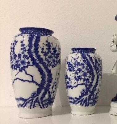 Two Finest China Porcelain Vases Blue On White Set