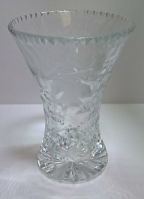 "6"" Crystal Cut Glass Concave Curved Vase – Lovely Condition"