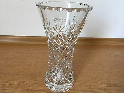 Mappin and Webb hand cut lead crystal vase -Still has label attached.