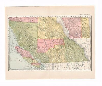 Antique map of British Columbia, Canada from the 1898 Home Reference Library