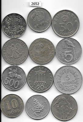 World x 12 Mixed Coins All Differant Silver Colour