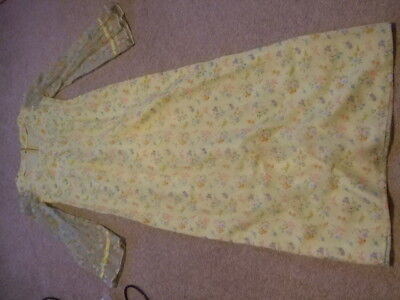 vintage 60s 70s yellow sheer floral ditsy prairie victorian dress 10 12 wedding