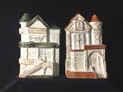 Counterpoint San Francisco Pottery Victorian House Wall Pocket Pair