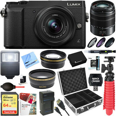 Panasonic LUMIX GX85 Mirrorless Black Camera + 12-32mm & 45-150mm Dual Lens Kit