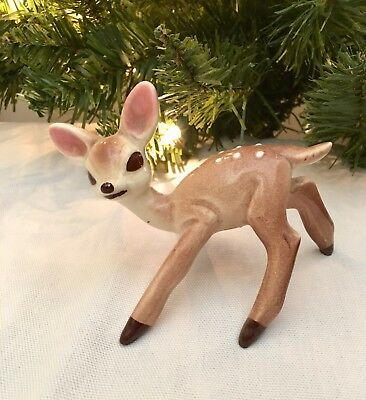 """VINTAGE DOE FAWN BAMBI POTTERY DEER FIGURINE  """"Learning to Walk"""""""