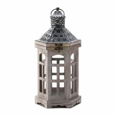 Wooden Lantern Candle Holder, Hex Top Pine Wood Antique Candle Lantern Outdoor