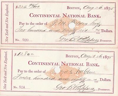 Two (2) Checks 1875    Continental National Bank, , Boston, Mass    W/revenues