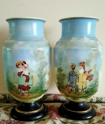 pair of antique opaline vases