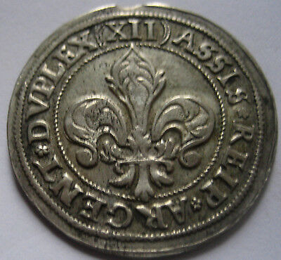 RARITY and GRADE start 1$ : FRANCE STRASBOURG City 1529-1601  XII KREUZER argent