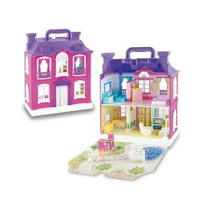 Doll House and Accessories Plastic Furniture with Music And LED Lamp for Kids