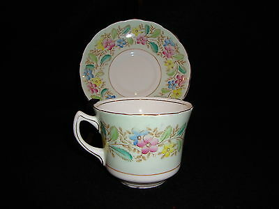 EB Foley Vintage 1930's Hand Painted Tea CUP & SAUCER Mint Green Floral EUC