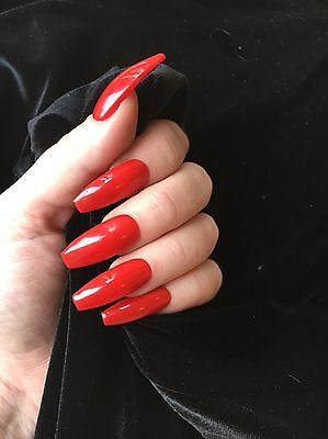Hand Painted FALSE NAILS - Extra Long Coffin - Red -gloss - STICK ON