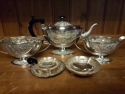 Exceptional Antique Solid Sterling Silver Six Piece Tea/coffee Set