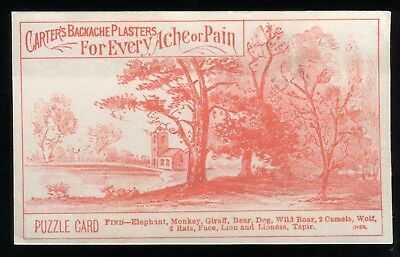 Lot 51: 1880's Carter's Backache Plasters ( Puzzle Card ) Trade Card