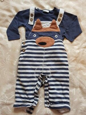 NEXT boys 2 piece fox outfit. Dungarees. 6-9 months.