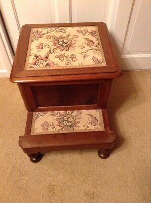 Antique Mahogany Coloured Wooden Commode/Seat With Step