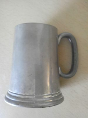 Antique half pint PEWTER TANKARD with glass bottom