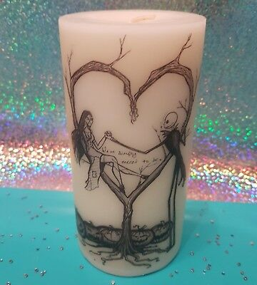 mightmare before christmas jack and sally love candle. tim burton