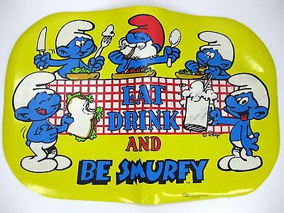 SMURFS vinyl placemat eat drink and be smurfy peyo 1980s vintage vtg
