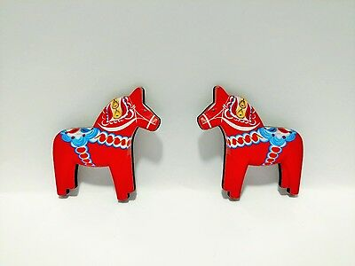 """New!!! Pair of 2"""" Traditional RED Swedish Dala Horse MAGNET, Made in Sweden"""
