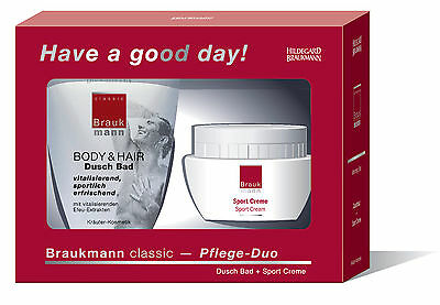"Hildegard BraukMANN classic Pflege-Duo"" Have a good day!"" Sport Creme +Dusch Bad"