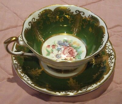 Paragon Kingston Pattern Cup & Saucer Green, Gold, Floral