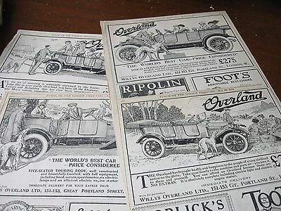 LOT of (4) 1914 Original AD Advertising - OVERLAND AUTOMOBILE w BORZOI WOLFHOUND