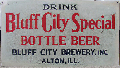 Bluff City Brewery Tin Sign - Old, Original, and in Excellent Condition