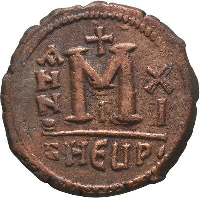 BYZANTINE EMPIRE. MAURICE TIBERIUS. 582-602 AD. Æ Follis , 11.20gr Beauty!