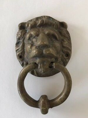 Antique Vintage OLD LIONS HEAD Heavy Brass Door Knocker Natural turquoise PATINA