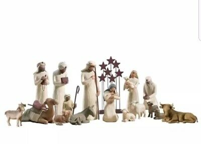 Demdaco Willow Tree Nativity 14 Piece Set w/Creche.  Exc. Cond in Original Boxes