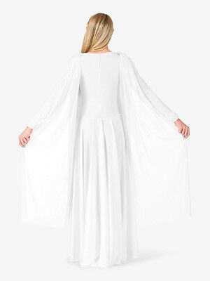 Nwt Bal Togs Adult size  petite xs white   Attached scarf Worship Dress BT5195