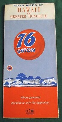 1967 Rand McNally Union 76 Road Maps of Hawaii and Greater Honolulu Colorful